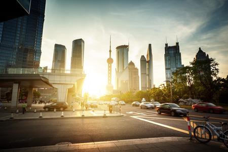 shanghai: road in Shanghai lujiazui financial center, China