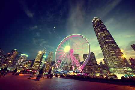 wheel spin: Observation Wheel, Hong Kong Stock Photo