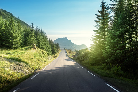 weg in de bergen, Lofoteb iskands, Noorwegen