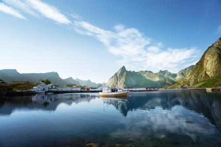 fishing huts: sunset - Reine, Lofoten islands, Norway
