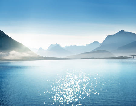 shift: mountains (tilt shift), Lofoten islands, Norway