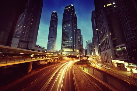 night traffic: traffic in Hong Kong at sunset time Stock Photo