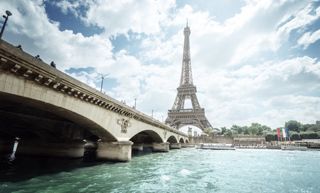 paris france: Seine in Paris with Eiffel tower in morning time