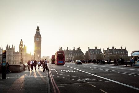 anonymous people: Westminster Bridge at sunset, London, UK