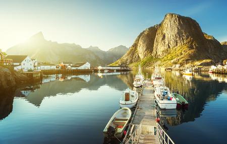fall sunrise: sunset - Reine, Lofoten islands, Norway