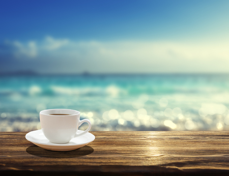 sea and cup of coffee 스톡 콘텐츠