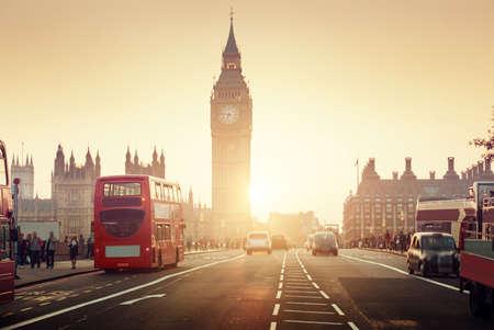 the big: Puente de Westminster en la puesta del sol, Londres, Reino Unido