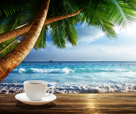 beach and cup of coffee