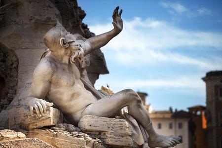 mythology: Statue in Fountain, Piazza Navona, Rome, Italy
