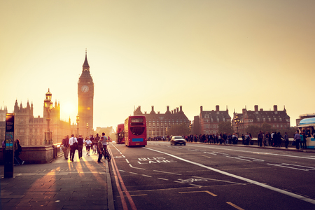 urban people: Westminster Bridge at sunset, London, UK