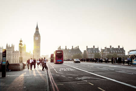 uk: Westminster Bridge at sunset, London, UK