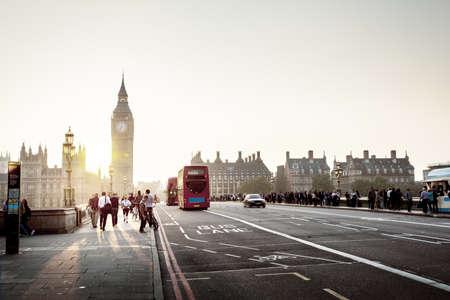 uk: Westminster Bridge at sunset, London, UK