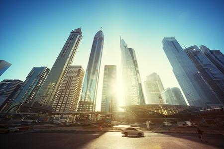 united arab emirates: Sheikh Zayed road, United Arab Emirates Stock Photo