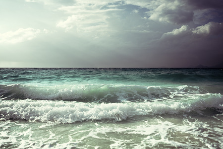 seychelles: waves at Seychelles beach Stock Photo