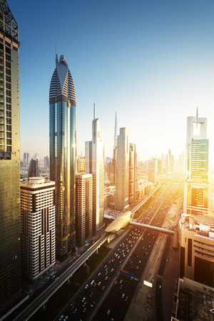 aerial: Dubai skyline in sunset time, United Arab Emirates Stock Photo