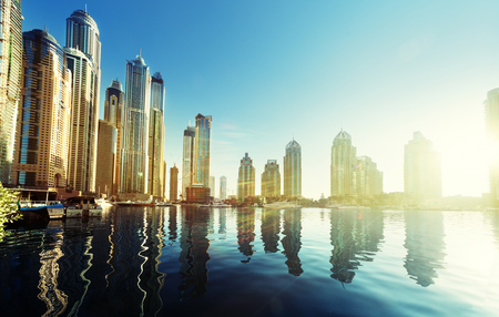 city landscape: Dubai Marina at sunset, United Arab Emirates Stock Photo
