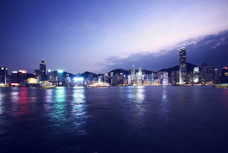 hong kong night: Hong Kong skyline at night