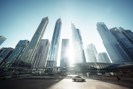 zayed: Sheikh Zayed road, United Arab Emirates Stock Photo