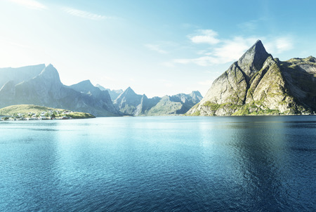 rorbuer: sunset in Lofoten islands, Norway