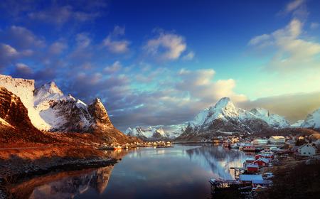 snow in Reine Village, Lofoten Islands, Norway Stock Photo