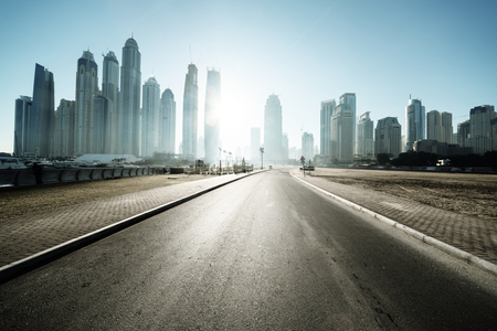 city road: road in Dubai, United Arab Emirates Stock Photo