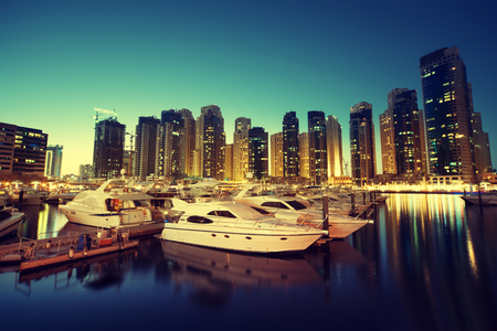 Dubai Marina at sunset, United Arab Emirates 版權商用圖片