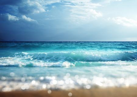 tilt shift: beach in sunset time, tilt shift soft effect