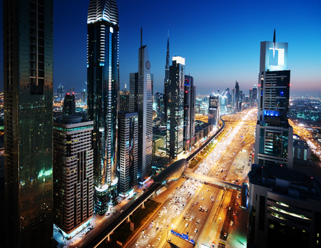 Dubai skyline in sunset time, United Arab Emirates 스톡 콘텐츠