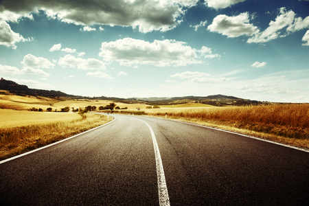 seson: asphalt road in Tuscany, Italy