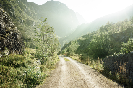 norway: ground road in mountain, Lofoten islands, Norway Stock Photo
