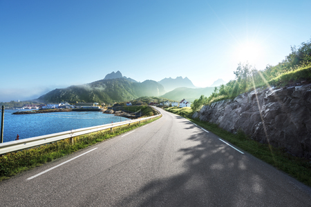 road and mist, Lofoten islands, Norway
