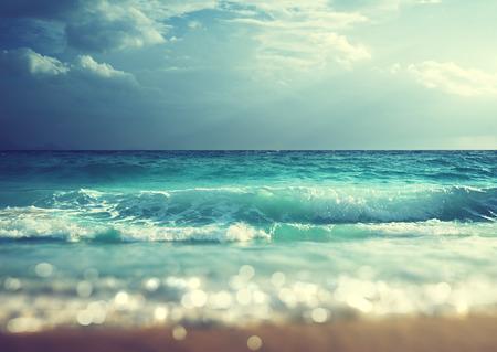 shift: beach in sunset time, tilt shift soft effect