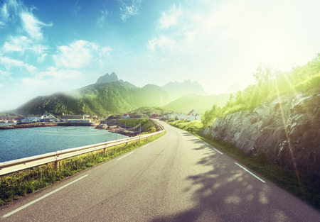 misty road by the sea, Lofoten island, Norway