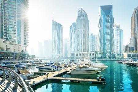 arab: Dubai Marina at sunset, United Arab Emirates Stock Photo