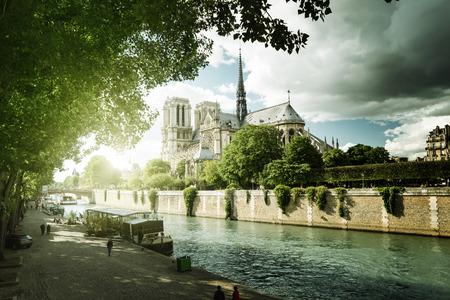 notre: Seine and Notre Dame de Paris, Paris, France Stock Photo