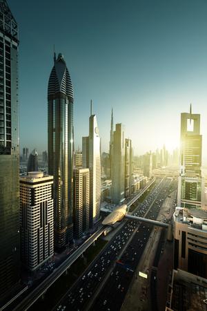 aerial view: Dubai skyline in sunset time, United Arab Emirates Stock Photo