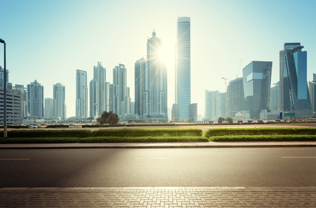 city road: Dubai skyline, United Arab Emirates Stock Photo