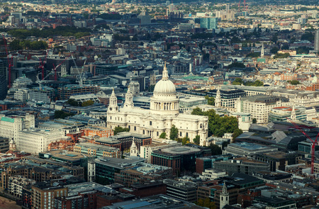 st  paul   s cathedral: aerial view  with st. Pauls cathedral London, UK