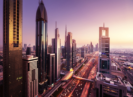 Dubai skyline in sunset time, United Arab Emirates 写真素材