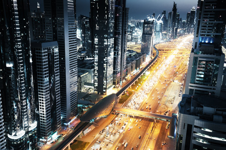 united: Dubai skyline in sunset time, United Arab Emirates Stock Photo