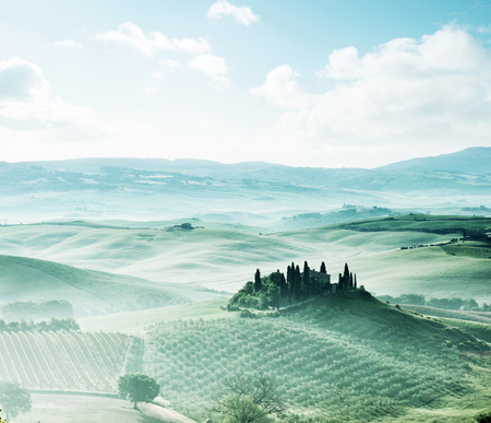 tuscan house: morning in Tuscany, Italy