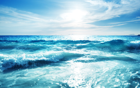 shift: saychelles beach in sunset time, tilt shift effect