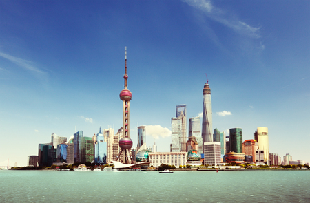 Shanghai skyline in sunny day, China Stock Photo - 56410878