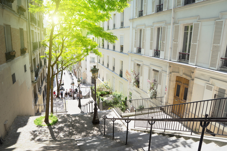 morning Montmartre staircase in Paris, France