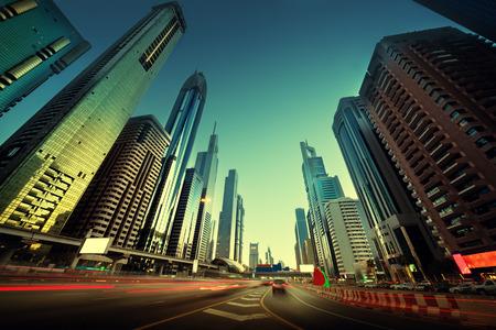 zayed: Sheikh Zayed Road in sunset time, Dubai, UAE
