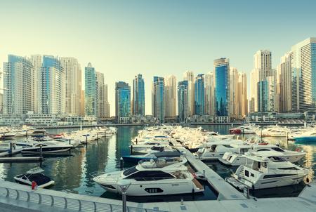 united arab emirates: Dubai Marina at sunset, United Arab Emirates Stock Photo
