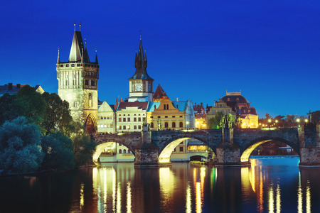 Charles bridge in sunset time, Prague , Czech Republic