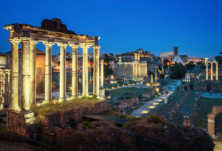 Roman Forum in Rome at sunset, Italy Banco de Imagens