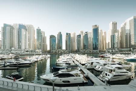 Dubai Marina at sunset, United Arab Emirates Stock Photo