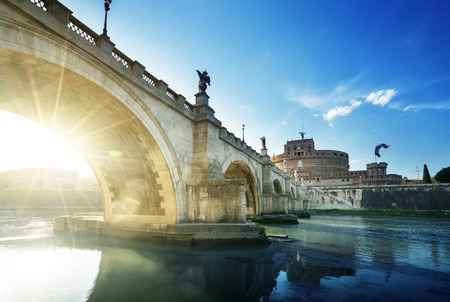 angelo: Sant Angelo Castle and Bridge in sunset time, Rome, Italia